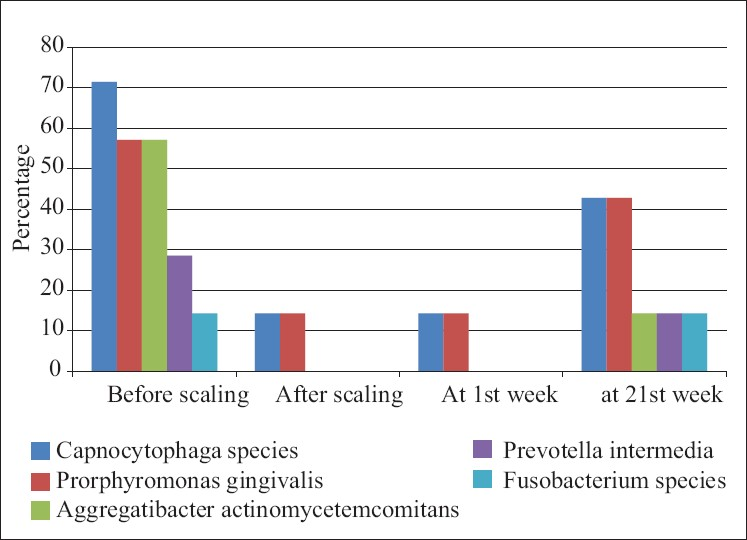 Figure 11: Distribution of type of bacteria presents at various time interval in the test group patients